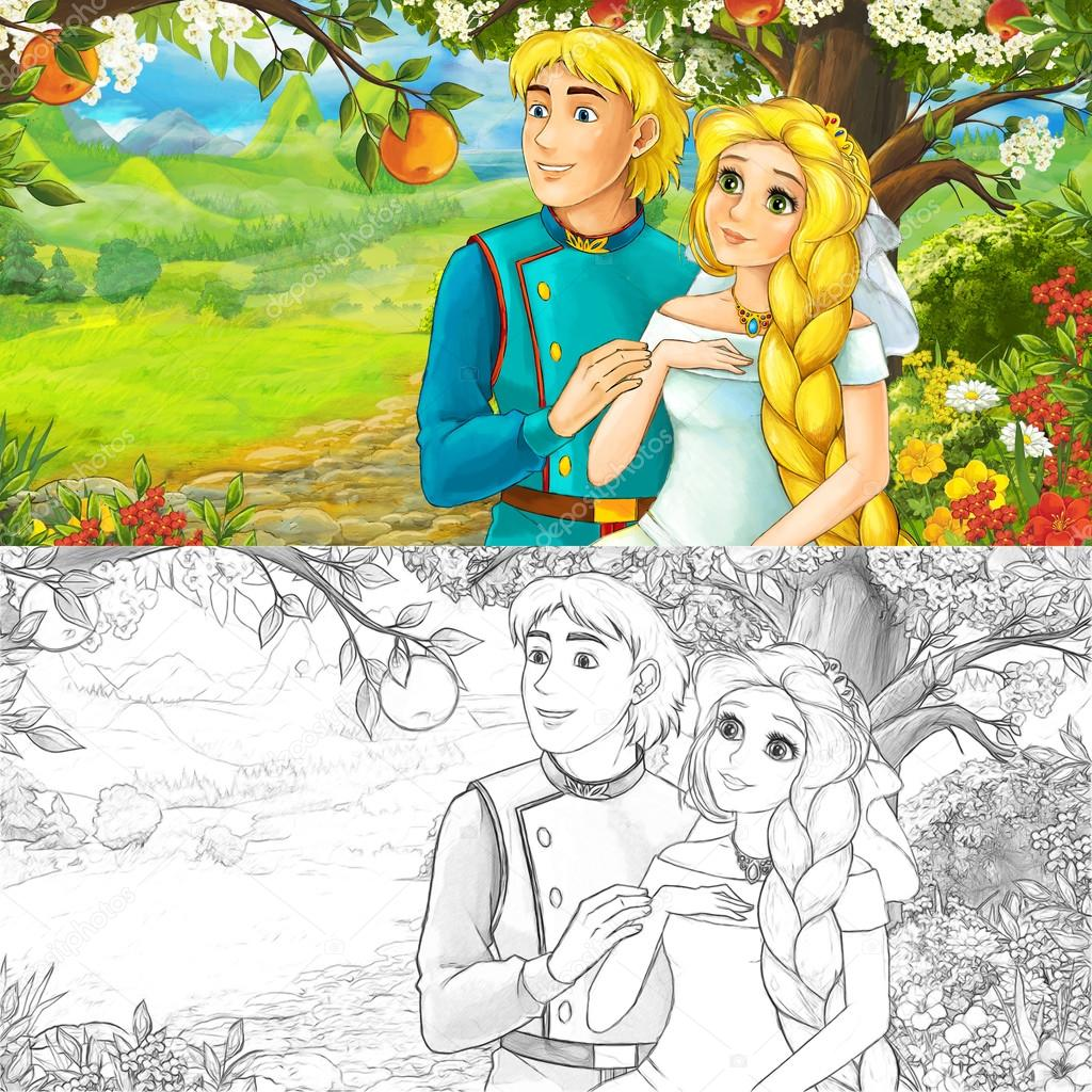 cute royal charming couple on the meadow