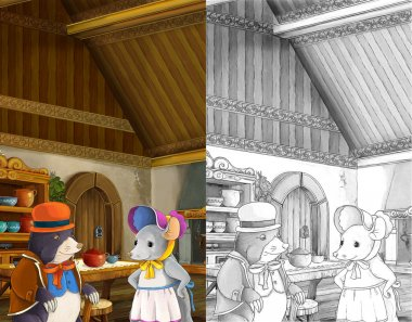 mole and mouse talking in the kitchen