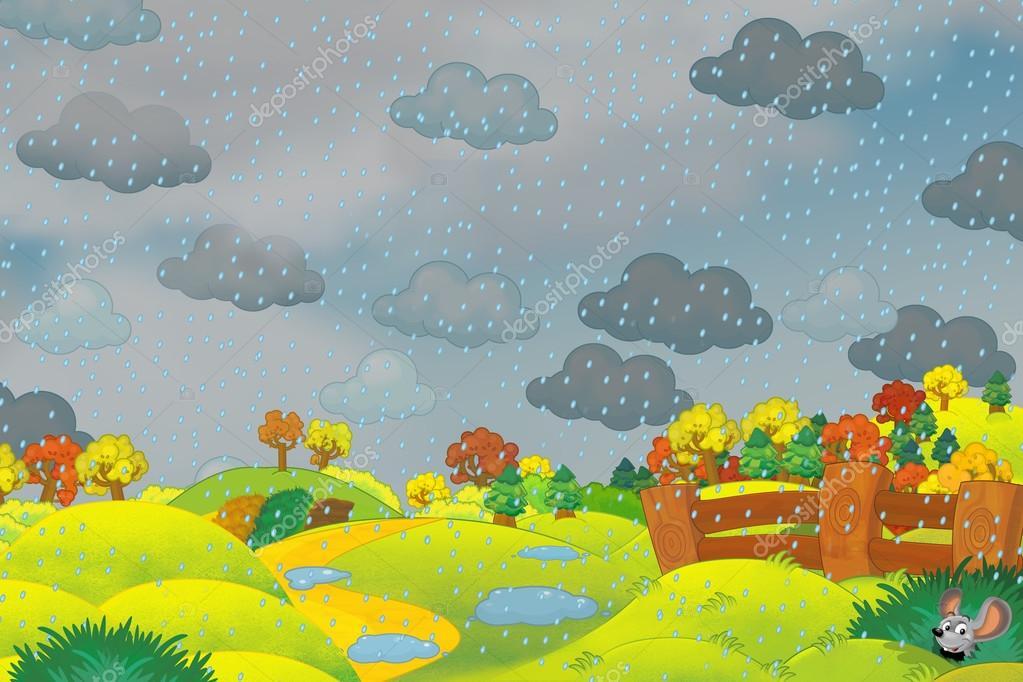 Escena De Dibujos Animados De Un Parque En Día De Lluvia