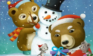 cartoon christmas scene with different animals and snowman illustration for children