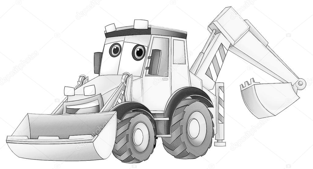coloring page excavator illustration for the children photo by illustrator_hft