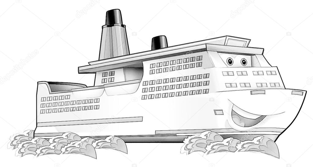 Coloring Page Boat Stock Photo Illustratorhft 53597433