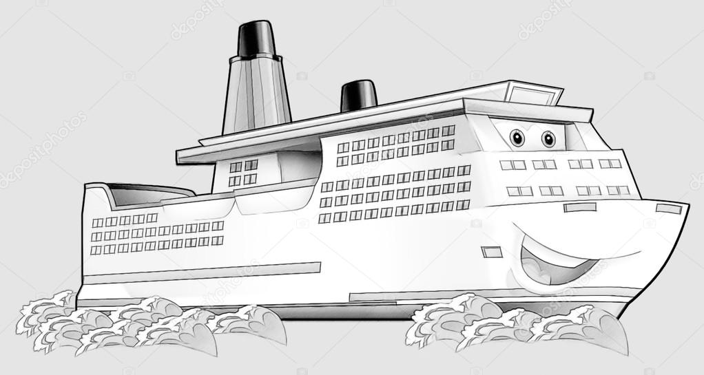 Coloring Page Boat Stock Photo Illustratorhft 53597435