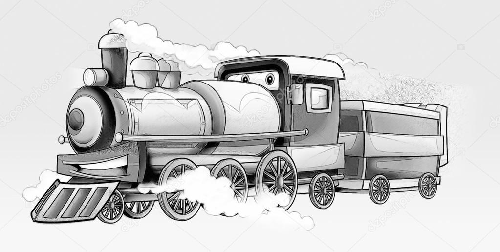 Coloring Page Train Stock Photo C Illustrator Hft 53597535