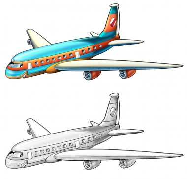 Coloring page - airliner - illustration for the children stock vector