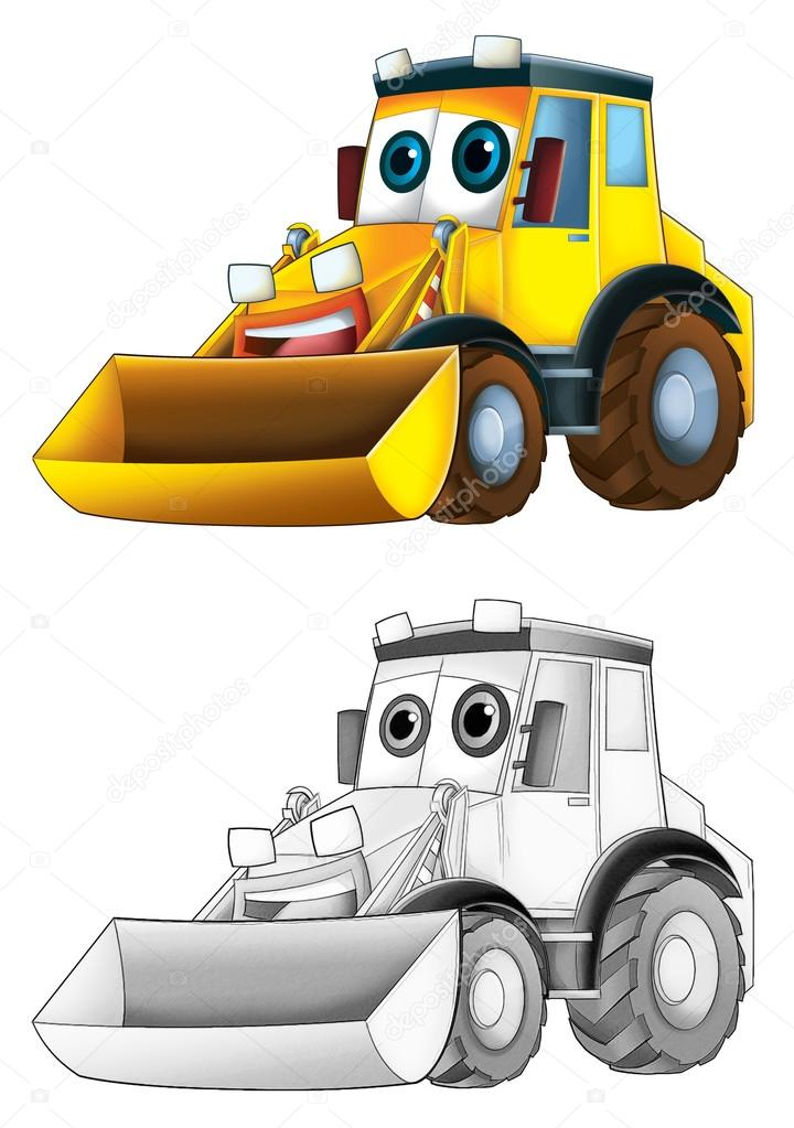 Excavator Coloring Page Coloring Page Excavator Stock Photo C Illustrator Hft 53656125