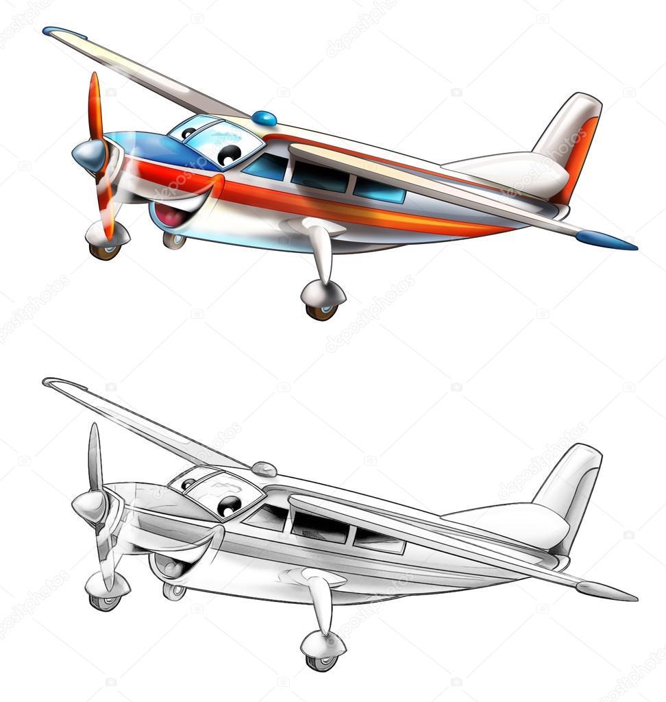 Kleurplaat Lichte Vliegtuigen Stockfoto 169 Illustrator