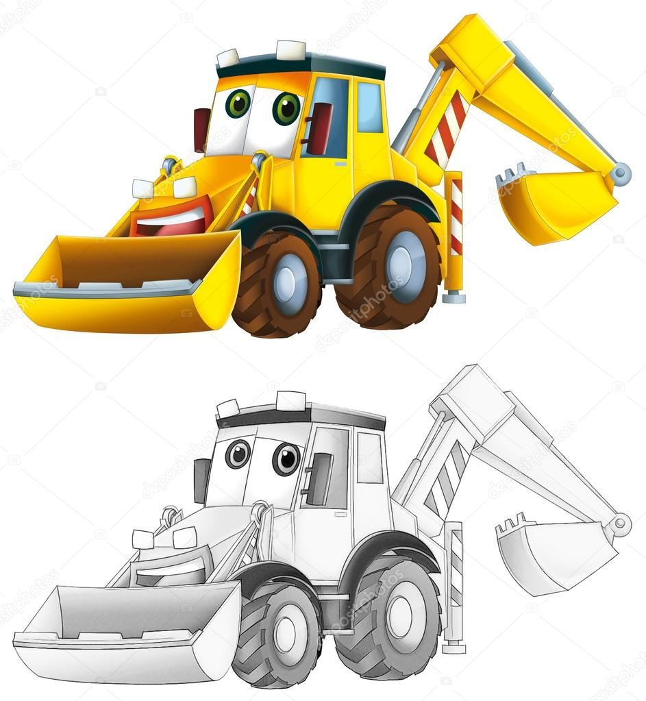 Coloring Page Excavator Stock Photo C Illustrator Hft 53656301