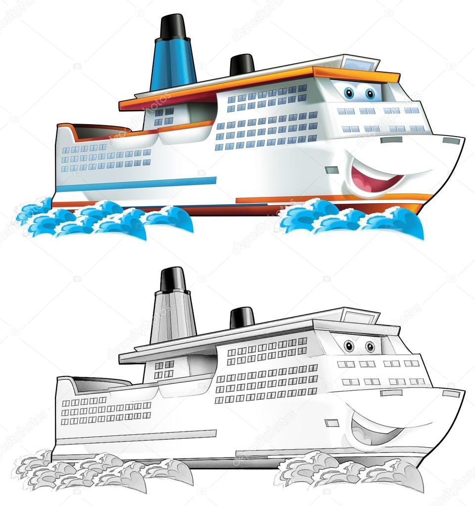 Coloring page - boat — Stock Photo © illustrator_hft #53656697