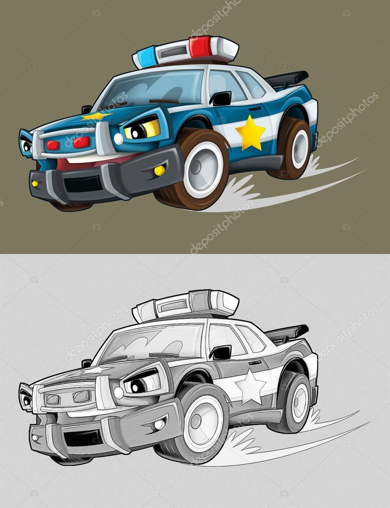 Boyama Sayfası Polis Arabası Stok Foto Illustratorhft 53656733