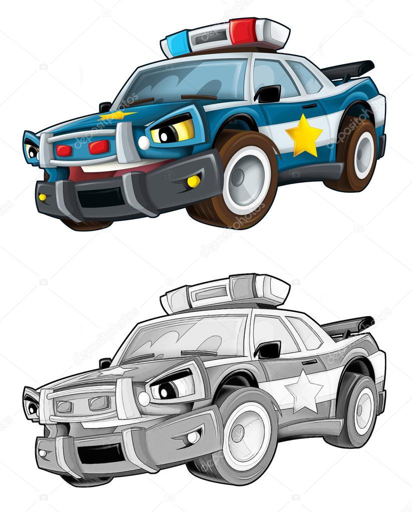 Kleurplaat Politie Auto Stockfoto C Illustrator Hft 53656737