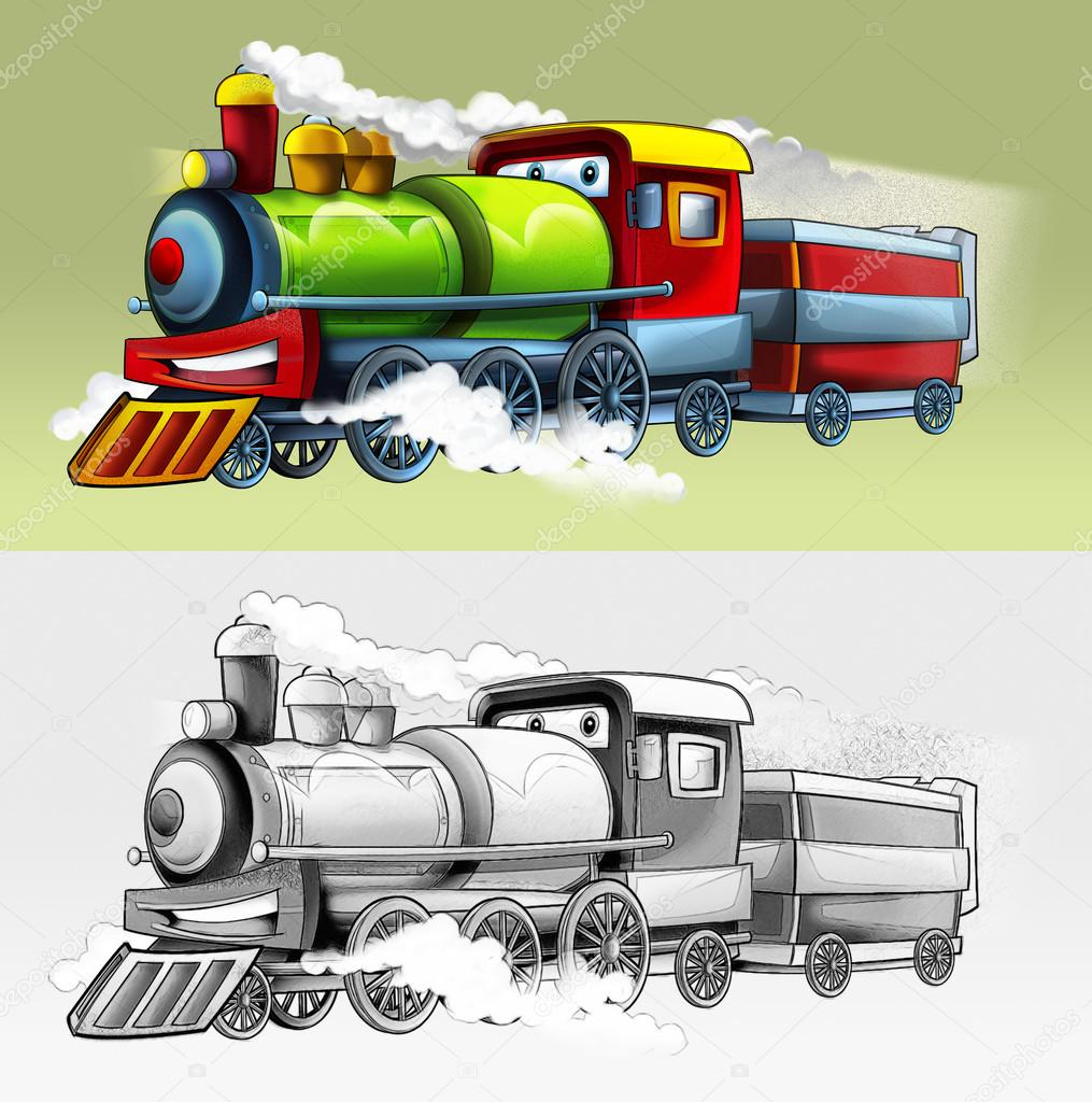 Coloring Page Train Stock Photo C Illustrator Hft 53656893