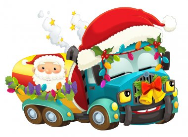 Cartoon christmas car - illustration for the children stock vector