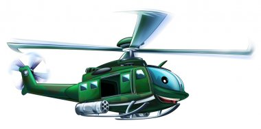 Cartoon military helicopter - illustration for the children stock vector