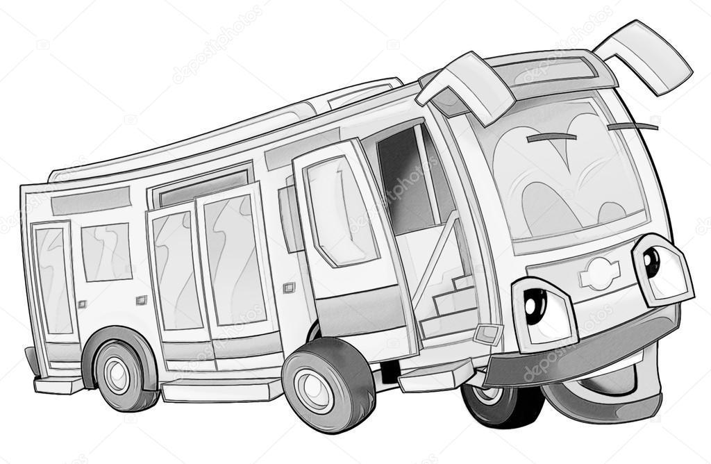 Kleurplaat Bus Stockfoto C Illustrator Hft 53735913