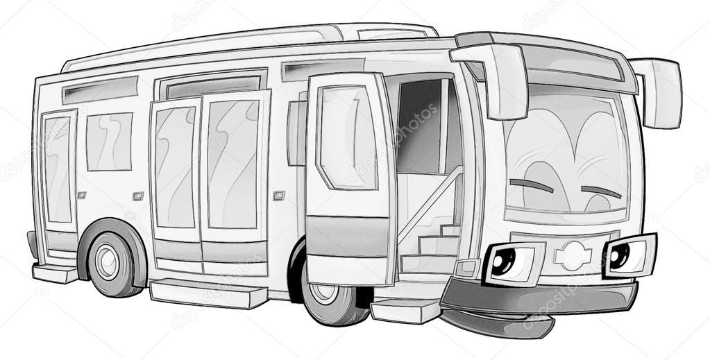 Boyama Sayfası Otobüs Stok Foto Illustratorhft 53735937