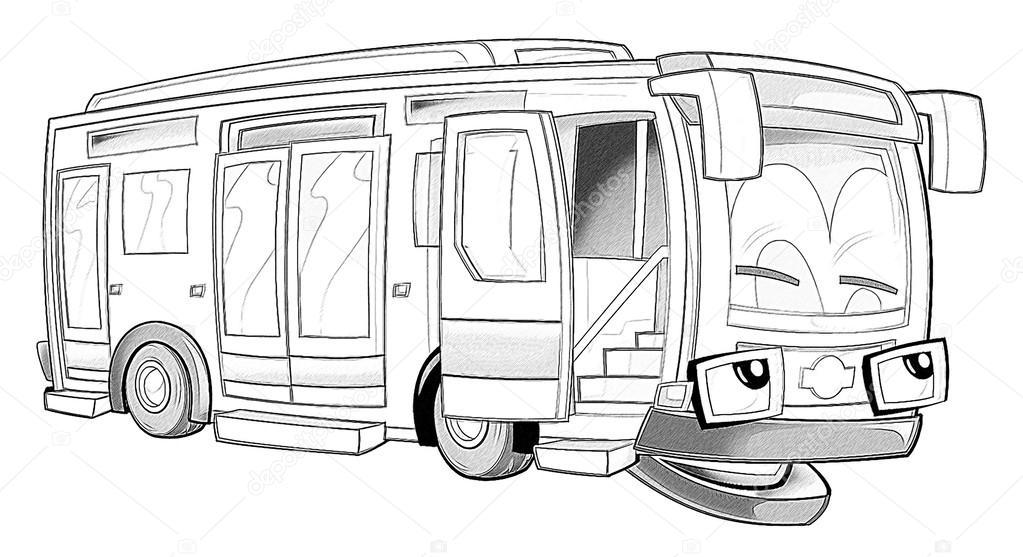 Boyama Sayfası Otobüs Stok Foto Illustratorhft 53735959