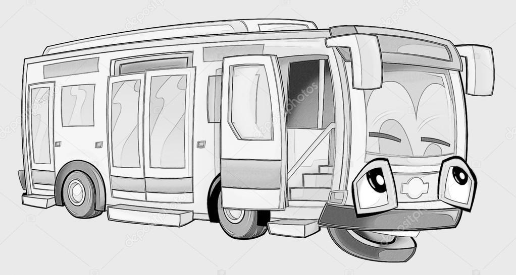 Kleurplaat Bus Stockfoto C Illustrator Hft 53735969