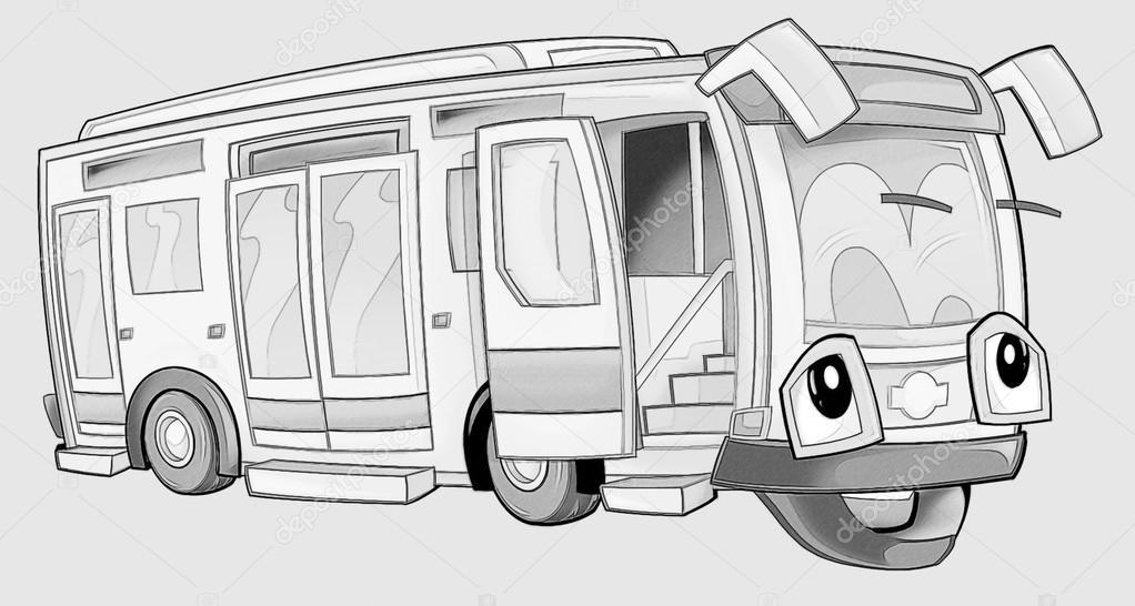 Kleurplaat Bus Stockfoto C Illustrator Hft 53735999