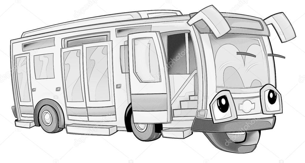 Boyama Sayfası Otobüs Stok Foto Illustratorhft 53736007