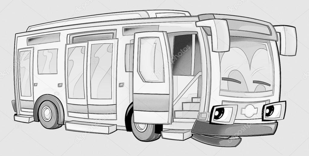 Boyama Sayfası Otobüs Stok Foto Illustratorhft 53736011