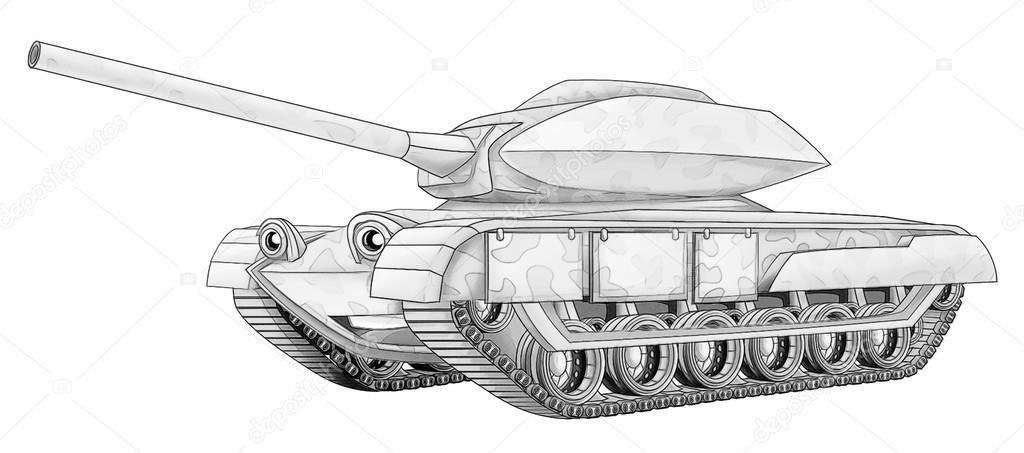 colorear página: tanque — Foto de stock © illustrator_hft #53736029