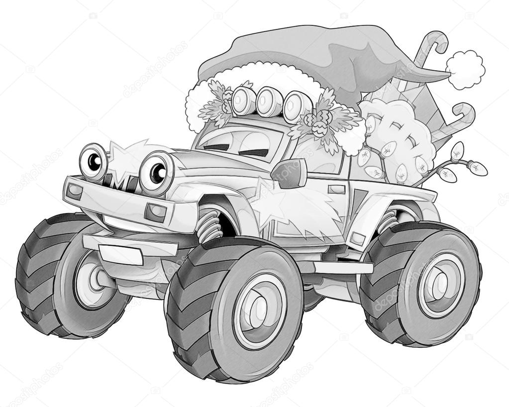 Kleurplaat Kerstmis Auto Stockfoto C Illustrator Hft 53736083