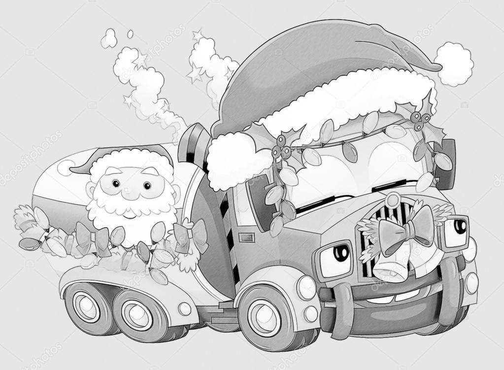 Kleurplaat Kerstmis Auto Stockfoto C Illustrator Hft 53736101
