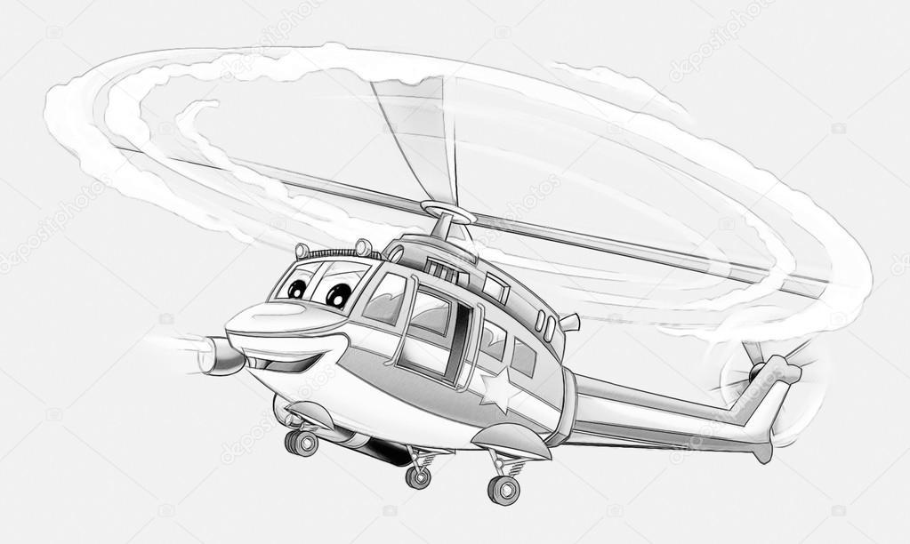 Coloriage Hélicoptère De Police Photographie