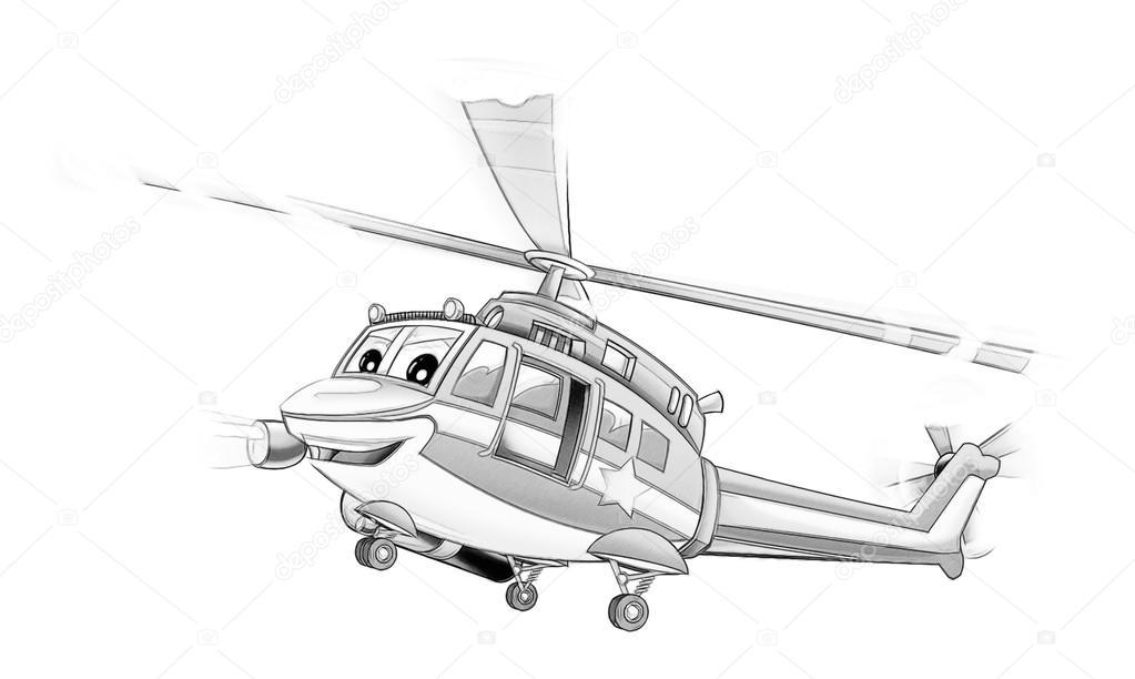 Boyama Sayfası Polis Helikopteri Stok Foto Illustratorhft