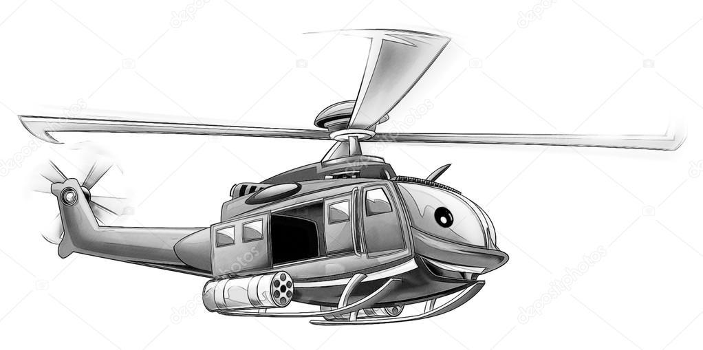 Boyama Sayfası Askeri Helikopter Stok Foto Illustratorhft