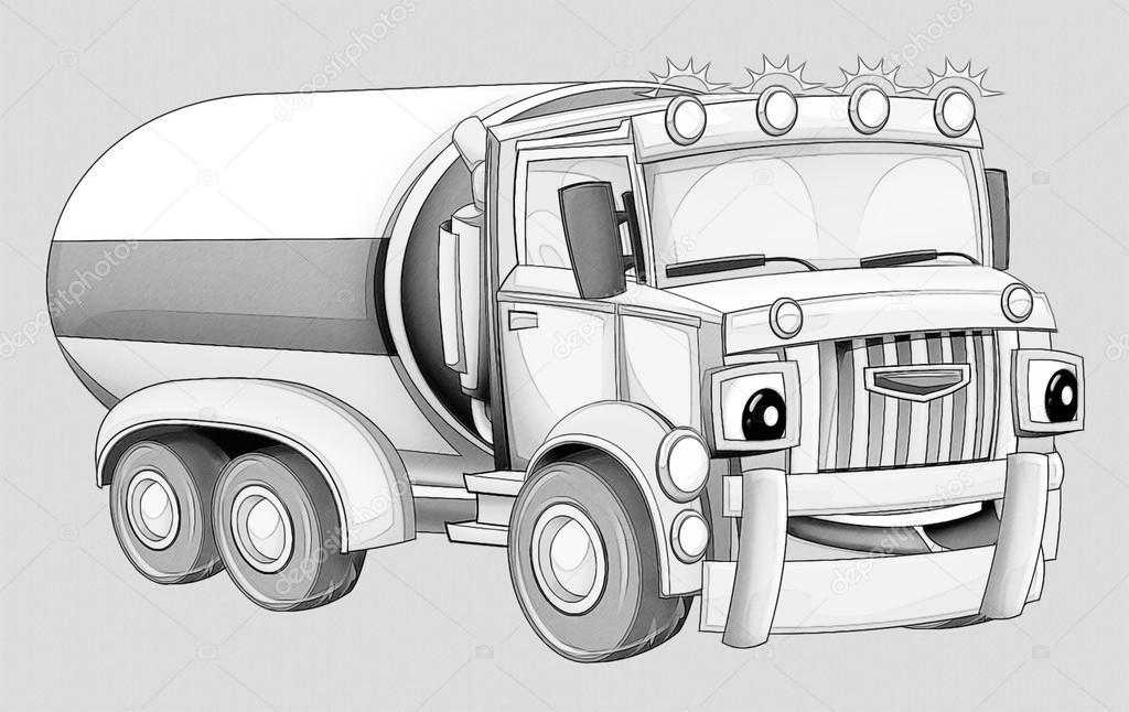 Kleurplaat Cartoon Vrachtwagen Stockfoto C Illustrator Hft 53736171