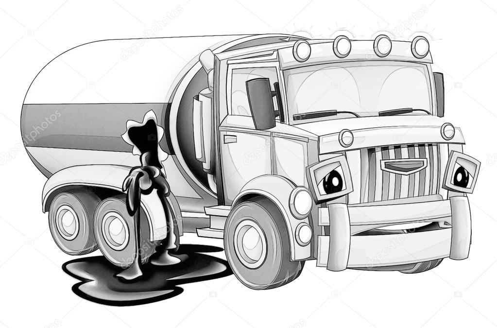 Pagina da colorare cartoni animati camion foto stock - Pagina da colorare camion della spazzatura ...