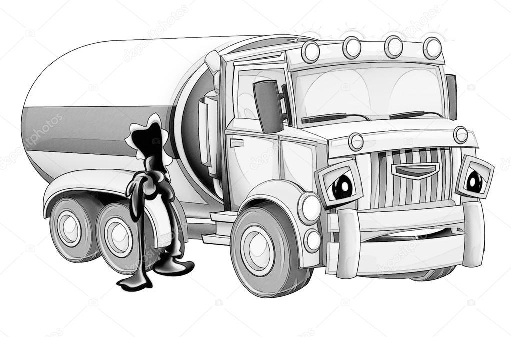 Página para colorear - dibujos animados camión — Foto de stock ...