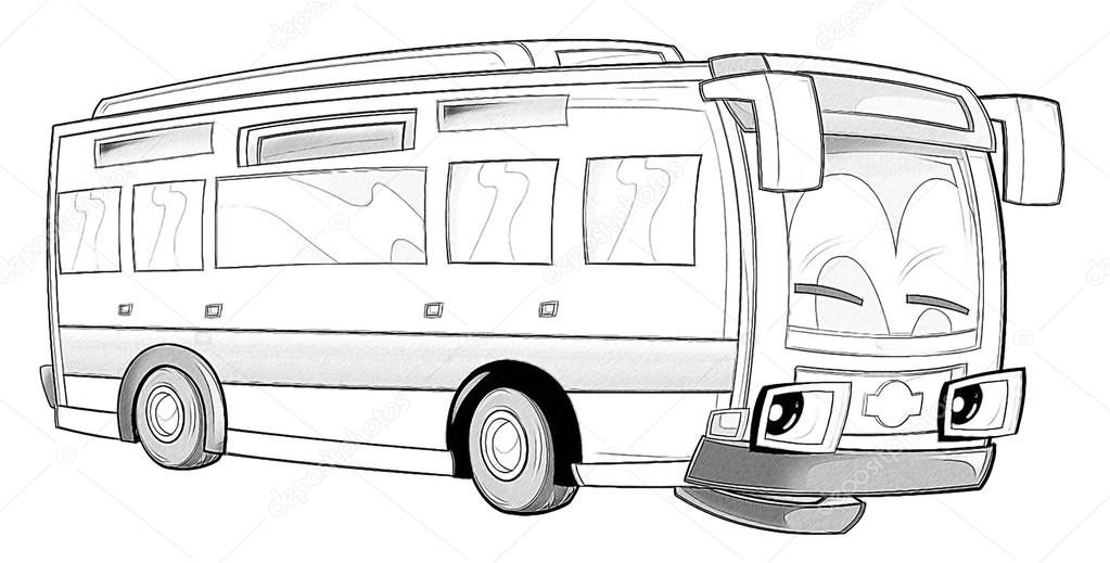 Coloring Page Bus Stock Photo C Illustrator Hft 53736235