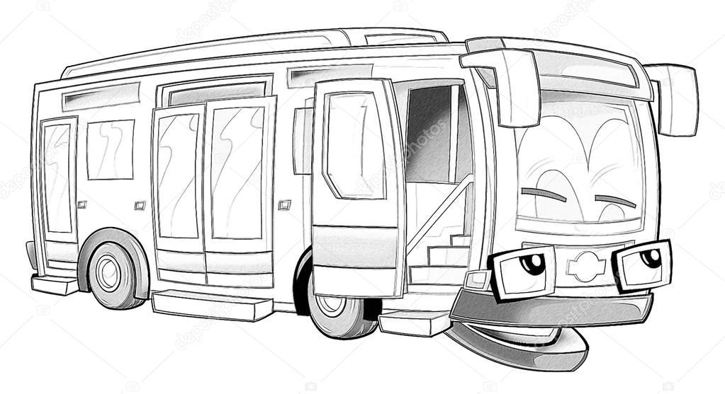 Boyama Sayfası Otobüs Stok Foto Illustratorhft 53736259