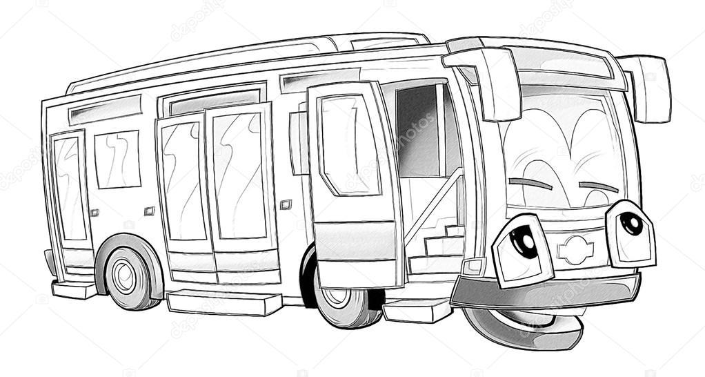 Boyama Sayfası Otobüs Stok Foto Illustratorhft 53736271