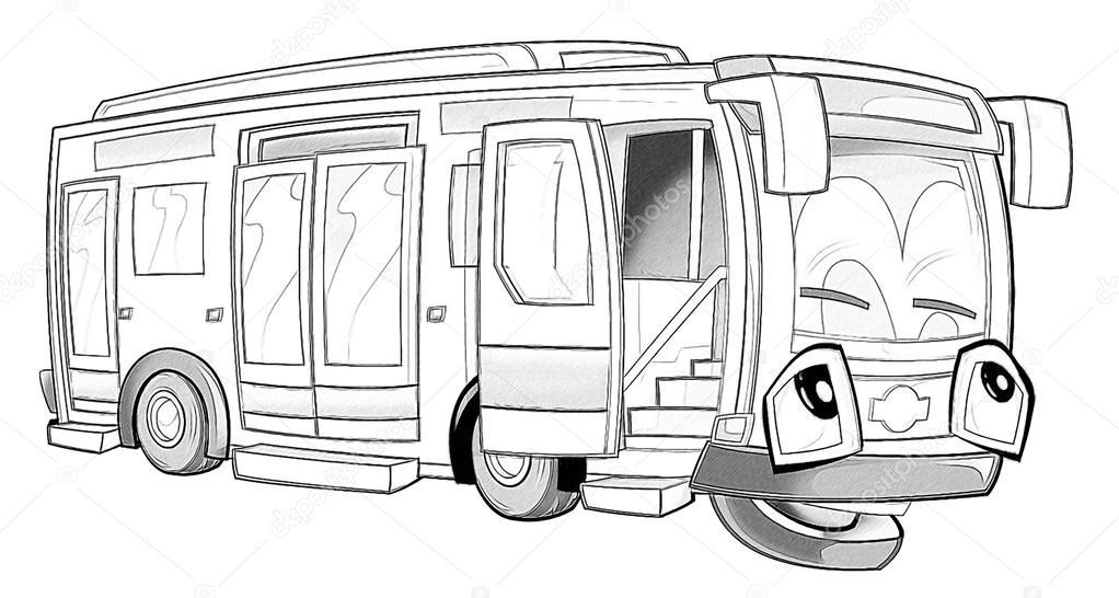 Boyama Sayfası Otobüs Stok Foto Illustratorhft 53736293