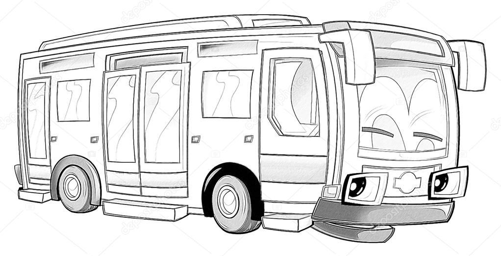 Kleurplaat Bus Stockfoto C Illustrator Hft 53736297