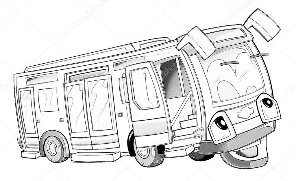 Kleurplaat Bus Stockfoto C Illustrator Hft 53736301