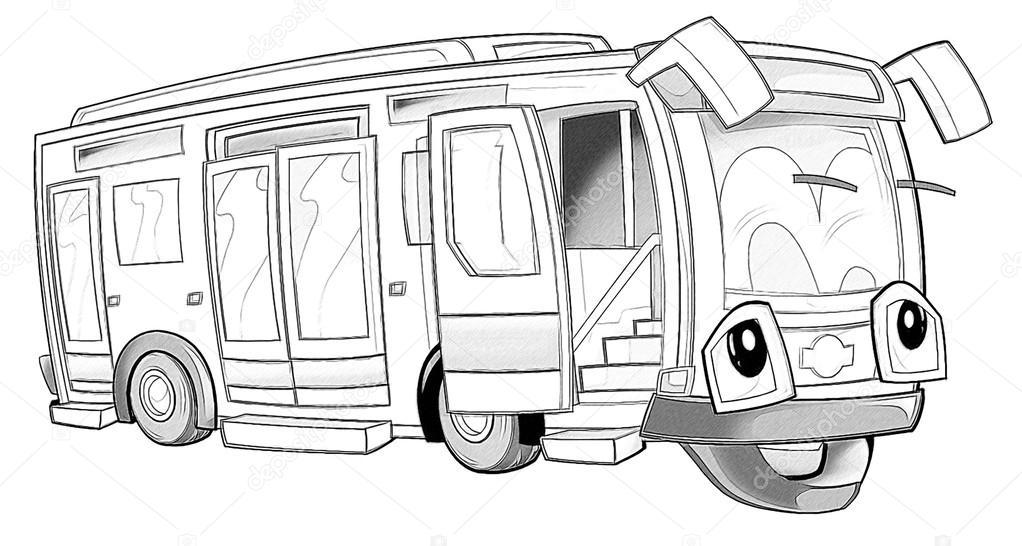Boyama Sayfası Otobüs Stok Foto Illustratorhft 53736317
