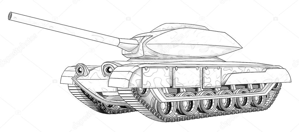 Boyama Sayfa Tank Stok Foto Illustratorhft 53736321