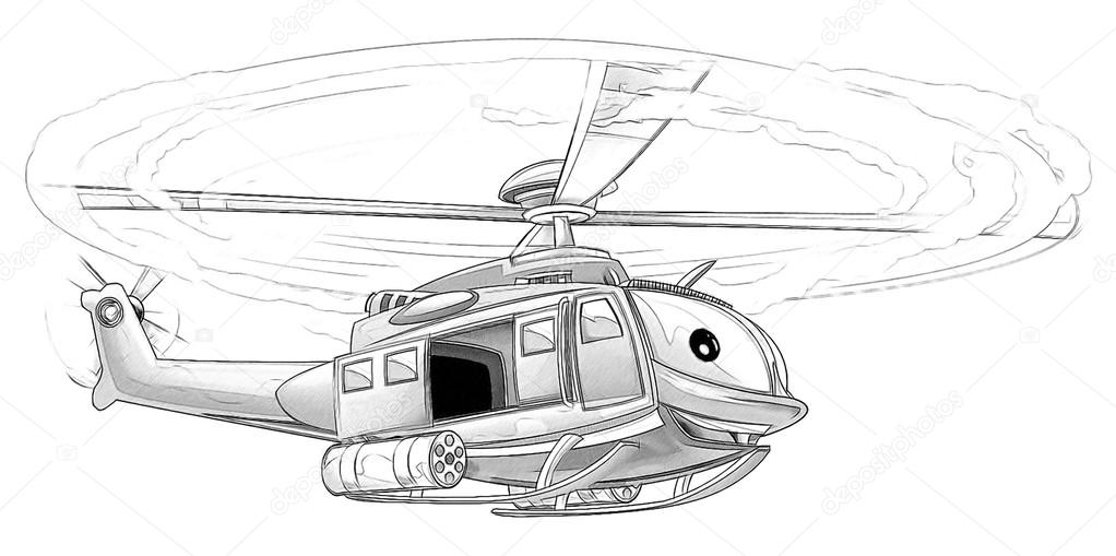 Coloring Page Military Helicopter Stock Photo