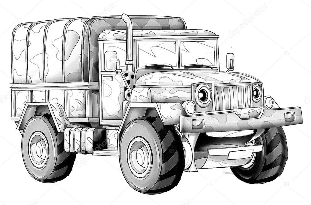 Kleurplaat Militaire Vrachtwagen Stockfoto C Illustrator Hft