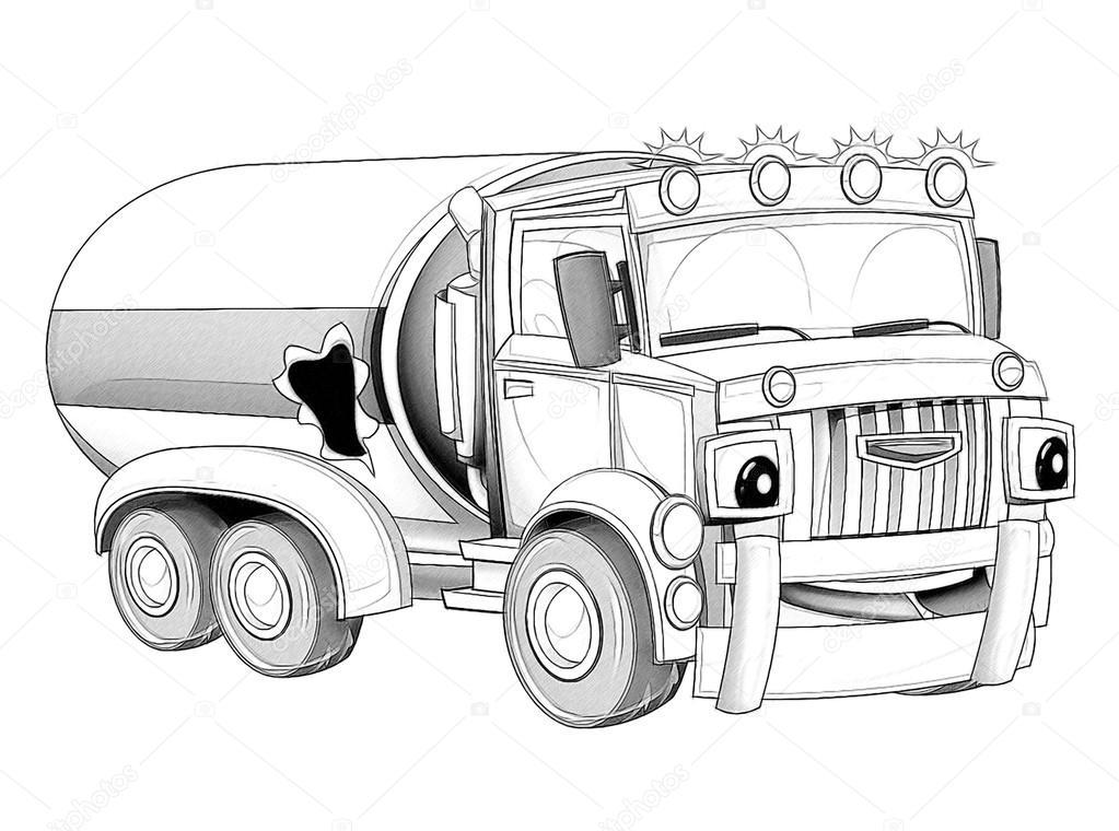 Kleurplaat Cartoon Vrachtwagen Stockfoto C Illustrator Hft 53736457