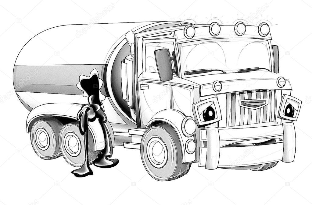 Boyama Sayfası Karikatür Kamyon Stok Foto Illustratorhft