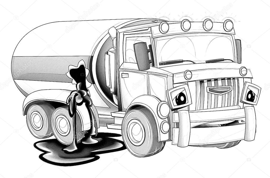 раскраски мультфильм грузовик стоковое фото