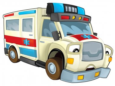 Cartoon ambulance - illustration for the children stock vector