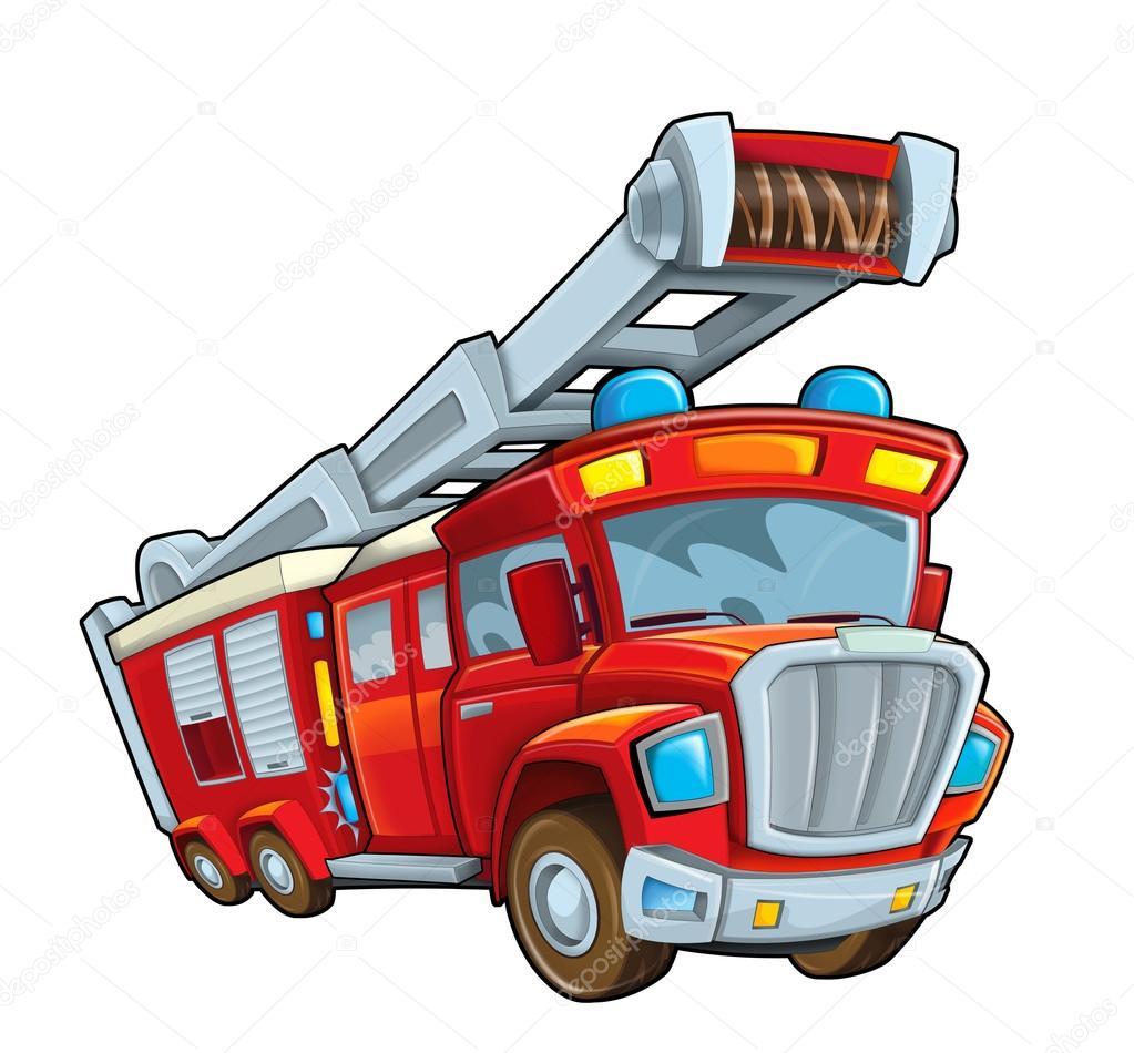 Camion de pompier dessin anim photographie illustrator - Camion de pompier dessin ...