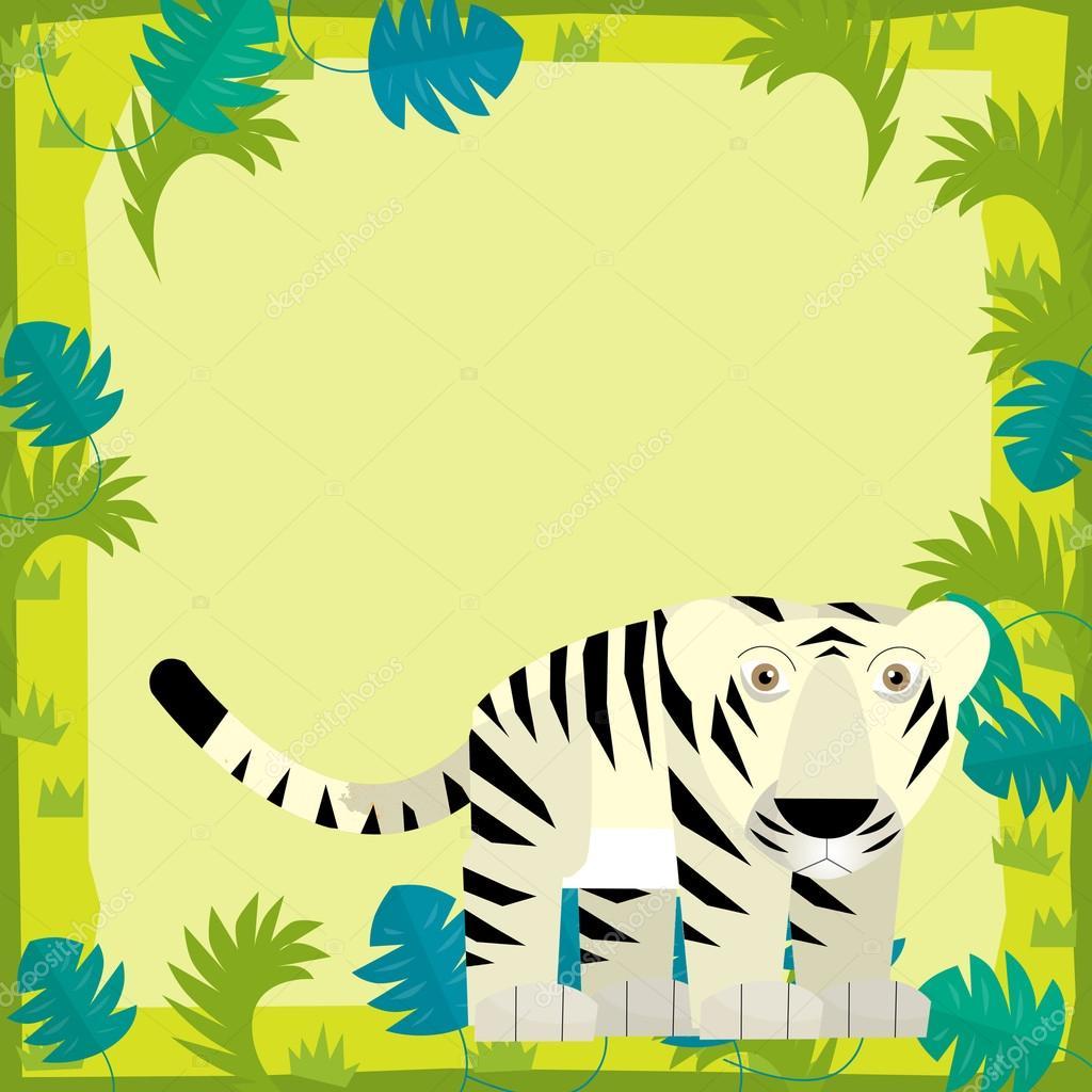 Tigre blanco en marco de dibujos animados — Fotos de Stock ...